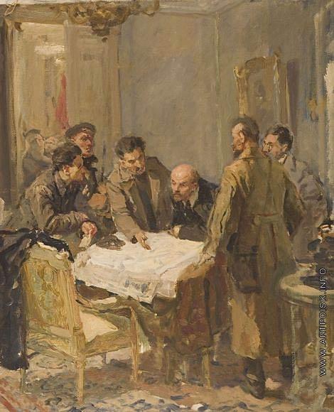 Серов В. А. Эскиз к картине «24 октября 1917 года»
