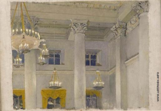 Серов В. А. Зал в Смольном. Этюд ко второму варианту картины «В.И. Ленин провозглашает советскую власть»