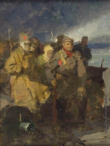 Серов В. А. Эскиз к картине «Ждут сигнала! (Перед штурмом)»