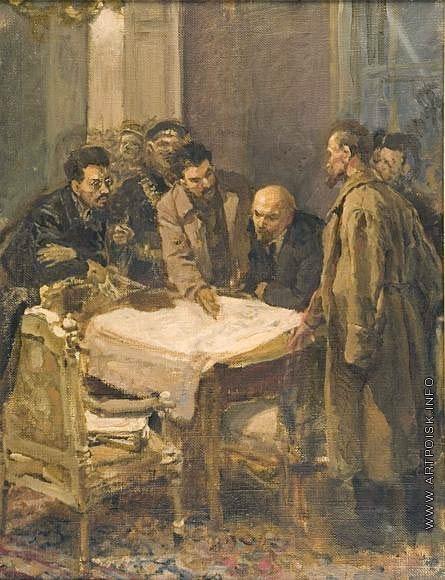 Серов В. А. Штаб Октября. Эскиз к картине «24 октября 1917 года»