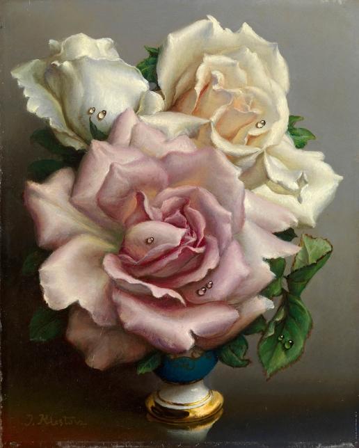 Клестова И. Белые и розовая розы