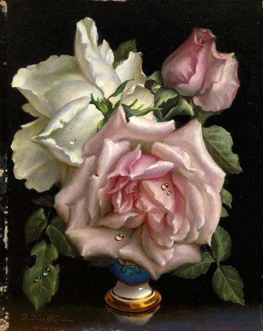 Клестова И. Розовые и белая розы