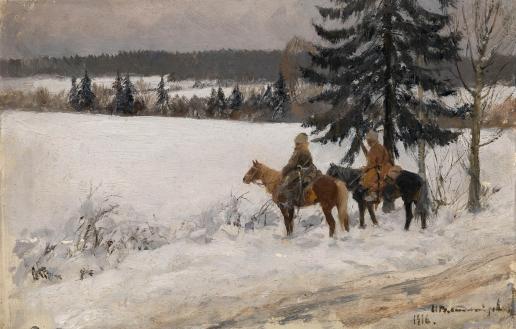 Владимиров И. А. Зимняя сцена с двумя верховыми казаками