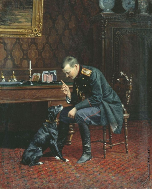 Бунин Н. Н. Офицер с собакой (В интерьере)