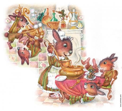 Комракова Е. А. Обед у кроликов. Иллюстрация к сказке