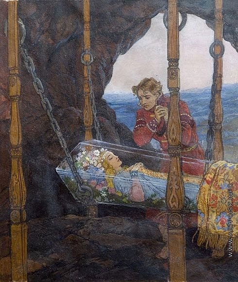 Серов В. А. Царевна в хрустальном гробу. Иллюстрация к сказке А.С. Пушкина «Сказка о мертвой царевне и семи богатырях»