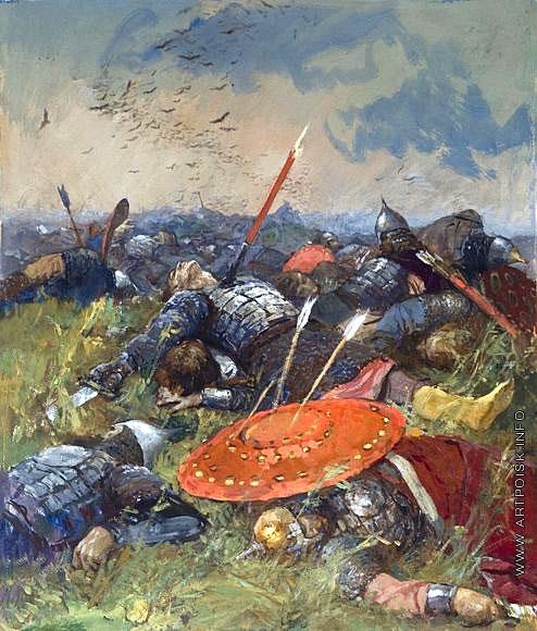 Серов В. А. Сватов напоили, а сами полегли за землю Русскую. Иллюстрация к «Слову о полке Игореве»
