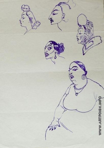 Серов В. А. Наброски женской фигуры и четырех женских голов