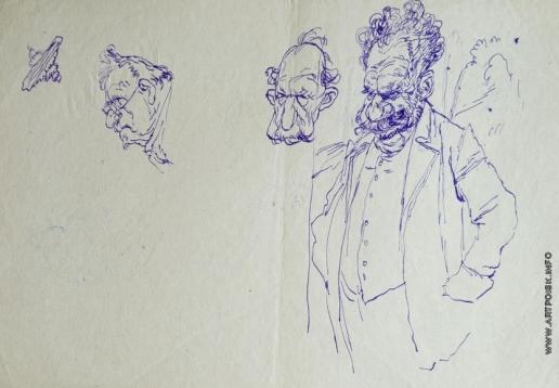 Серов В. А. Наброски фигуры мужчины и двух мужских голов