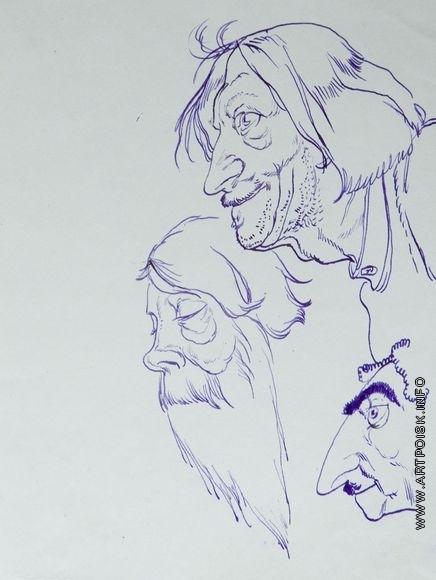 Серов В. А. Три мужских головы