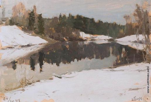 Первухин К. С. Снег выпал. Река Мста
