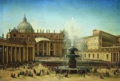 Чернецов Г. Г. Площадь Святого Петра в Риме во время папского благословения