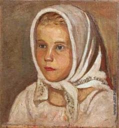 Честняков Е. В. Портрет девушки в белом платке
