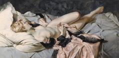 Чистовский Л. С. Лежащая обнаженная с розовым халатом