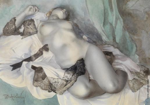 Чистовский Л. С. Обнажённая в белом шёлковом халате