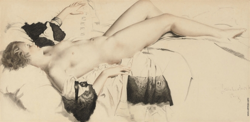 Чистовский Л. С. обнажённая на кровати