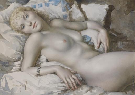 Чистовский Л. С. Обнажённая светловолосая женщина, лежащая на кровати