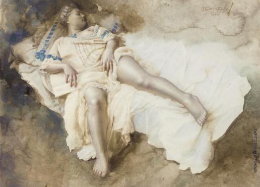 Чистовский Л. С. Полулежащая натурщица в кремовом платье с голубой отделкой