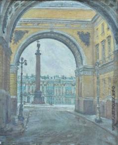 Цветков В. А. Вид на Дворцовую площадь  из-под Арки Главного штаба