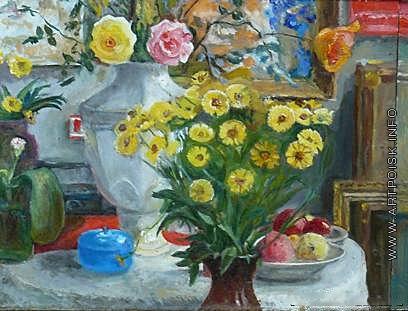 Цветков В. А. Натюрморт с цветами (уголок мастерской живописца)