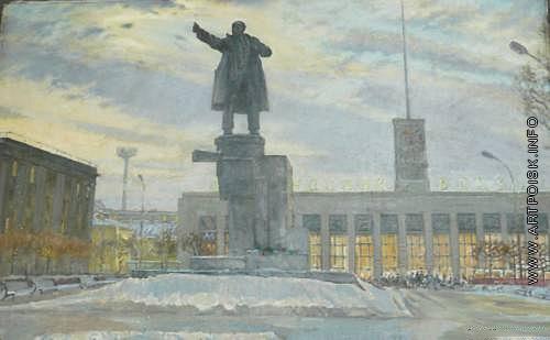 Цветков В. А. Вид на площадь Ленина у Финляндского вокзала в Ленинграде