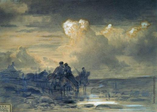 Васильев Ф. А. Лошади на водопое. 1867-