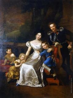 Митуар Б. Портрет И.И. Неплюева, адъютанта графа И.И. Дибич-Забайкальского, с женой и тремя детьми