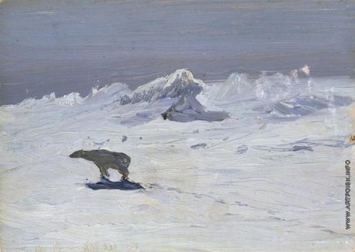 Борисов А. А. Лунная ночь. Медведь на охоте