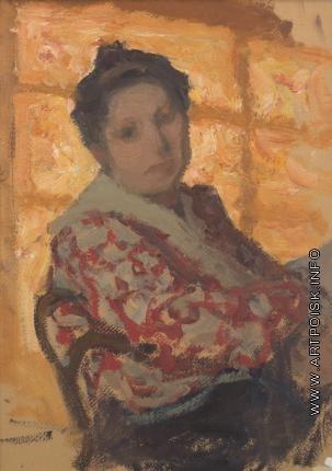 Пастернак Л. О. Розалия Исидоровна на фоне освещенного окна