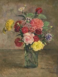 Машков И. И. Натюрморт с розами и гвоздиками с стеклянной банке