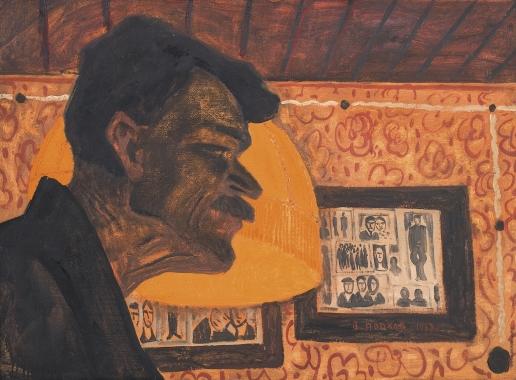Попков В. Е. Мужская голова на фоне абажура