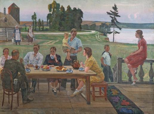 Дейнека А. А. Вечер в колхозе (Чай на террасе)