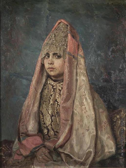 Васнецов В. М. Боярышня, в деревянной резной позолоченной раме