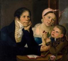 Колокольников-Воронин Я. М. Автопортрет с женой и сыном
