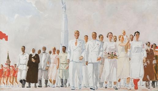 Дейнека А. А. Знатные люди страны Советов. Эскиз панно для павильона СССР на Всемирной выставке в Париже
