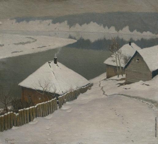 Гермашев М. М. Зима. Дома у реки
