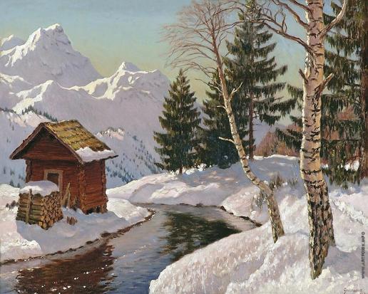 Гермашев М. М. Зимний пейзаж с березой
