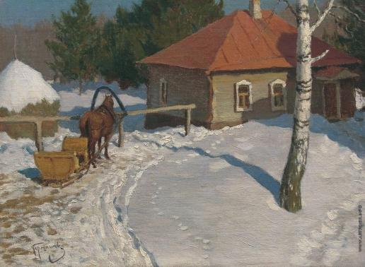 Гермашев М. М. Зимний пейзаж. Окраина деревни