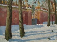 Гермашев М. М. У церковной ограды. Зимний день