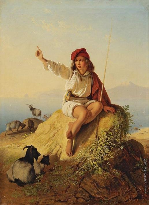 Нефф Т. А. Неаполитанский пастушок на берегу моря, освещенный восходящим солнцем