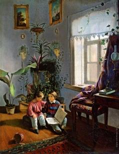 Хруцкий И. Ф. В комнате (мальчики, рассматривающие альбом с картинками)