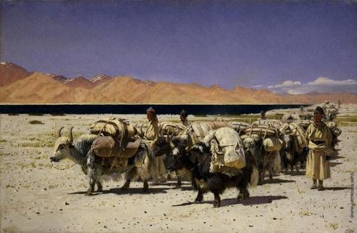 Верещагин В. В. Караван яков, нагруженный солью, около озера Цо-Морари, на границе Западного Тибета