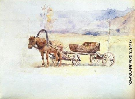 Суриков В. И. Лошадь, запряженная в пролетку