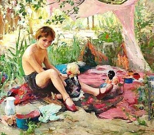Ковалевская З. М. Маленькая девочка со своими куклами в пейзаже