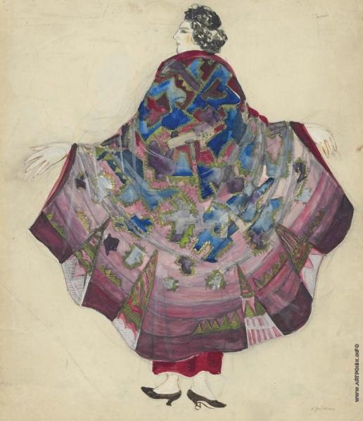 Гончарова Н. С. Эскиз вечернего платья: анютины глазки