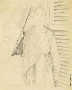 Ларионов М. Ф. Портрет Натальи Гончаровой в мастерской