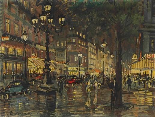 Коровин К. А. Париж ночью