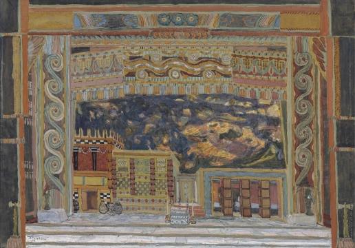 Головин А. Я. Эскиз декорации для «Электры»: Дворец Агамемнона в Микенах