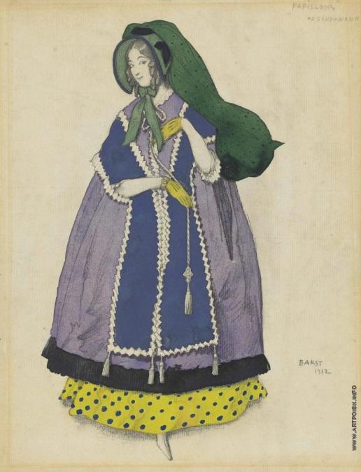 Бакст Л. С. Эскиз костюма: женщина в фиолетовом платье