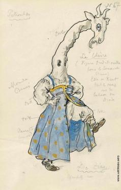 Бенуа А. Н. Коза. Эскиз костюма для «Петрушки»